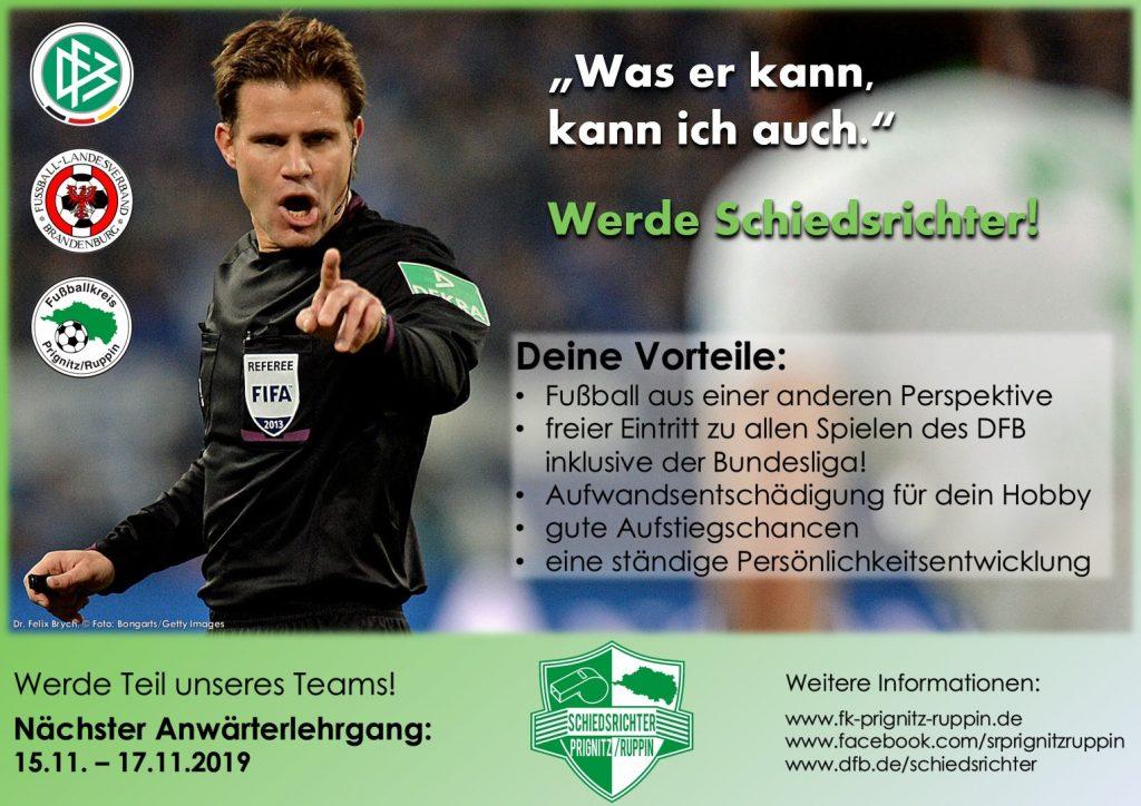 Werbeplakat für den kommenden SR-Anwärterlehrgang - Felix Brych