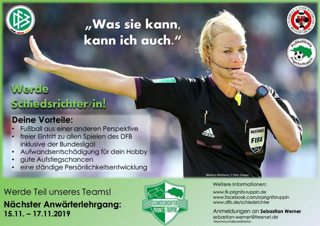 Werbeplakat für den kommenden SR-Anwärterlehrgang - Bibiana Steinhaus